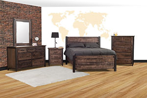Structura Industrial Bedroom Furniture Collection with meta frames and hand planed wood