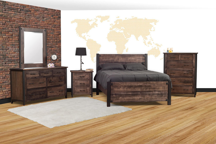 Structura bedroom furniture collection - industial furniture with powder-coated metal frames and hand-planed rusic smooth finish, with queen bed, dresser with mirror, chest of drawers, and nightstand