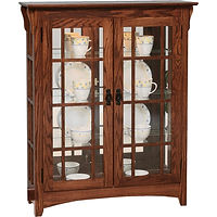 Mission Small Double Door Curio with Mullion Sides | 3 adjustable shelves with plate groove, mirror back, clear glass, LED touch light, black pull with lock | Oak in Asbury OCS117 | 39 1/2in W x 14in D x 48in H | The Amish Home | Amish Furniture at the Pittsburgh Mills