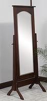 Classic Shaker Cheval Mirror|Brown Maple in Rich Tobacco OCS228|26in W x 18in D x 67in H|The Amish Home|Hardwood Furniture at the Pittsburgh Mills