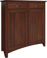 Spencer Pie Safe with two doors and two drawers | with two adjustable shelves | Brown Maple in Rich Cherry OCS227 | 48in W x 16in D x 51in H | The Amish Home | Amish Furniture at the Pittsburgh Mills