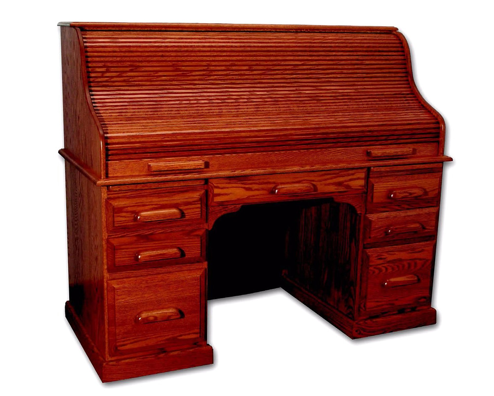 The Country Home Roll Top Desk is shown in oak