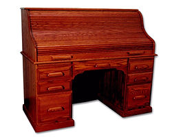 Country Home Standard Roll Top Desk | Oak in Medium OCS110 | 60in W x 27in D x 47in H | The Amish Home | Amish Furniture at the Pittsburgh Mills