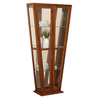 Melody Curio | 3 fixed glass shelves with plate groove, mirror back, clear glass, LED touch light, no lock, push-to-open hardware | Brown Maple in Michaels OCS113 | 36in W x 14in D x 74 1/16in H | The Amish Home | Amish Furniture at the Pittsburgh Mills