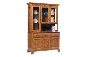 Americana 3 Door Hutch|Oak in Fruitwood OCS102|51in W x 18in D x 79in H|The Amish Home|Amish Furniture at the Pittsburgh Mills Amish Dining Solutions