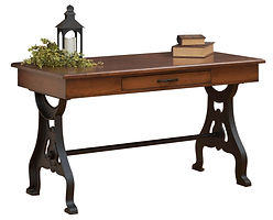 Douglass Writing Table with metal base | Brown Maple in Medium OCS110 | 54in W x 28in D x 30 1/2in H | The Amish Home | Amish Furniture at the Pittsburgh Mills