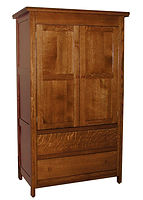 Country Mission Armoire|Quartersawn White Oak in Michaels OCS113|41 1/4in W x 22 1/2in D x 68 3/4in H|The Amish Home|Amish Furniture at the Pittsburgh Mills