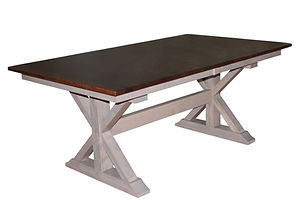 X-Base Trestle Table | Shown with rectangular top, eased edge. Butterfly leaf available. | Brown Maple in Two-toned | Many Sizes Available | The Amish Home | Amish Furniture at the Pittsburgh Mills
