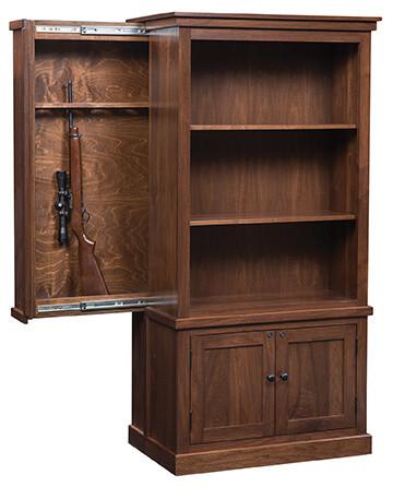 Cambridge Bookcase Gun Cabinet, shown open