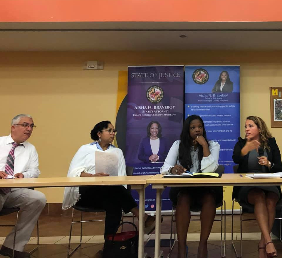 Attorney Morales speaking alongside State's Attorney Aisha Braveboy and friends Del. Joseline Pena Melnyk and Sen. Malcolm Augustine to bring legal resources to our communities and encourage trust in the justice system.