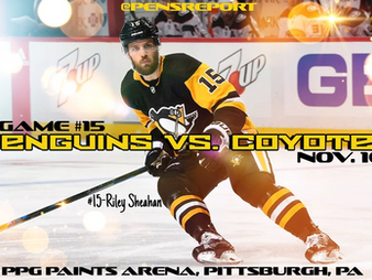 Pens Pre-Game #15: Penguins vs. Coyotes- Trying To Stop The Tailspin