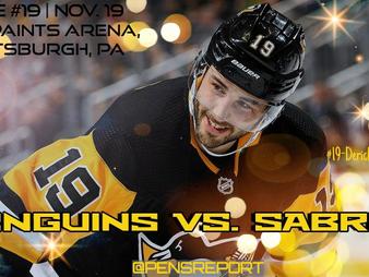 Pens Pre-Game #19: Penguins vs. Sabres- Bottom Of The Barrel