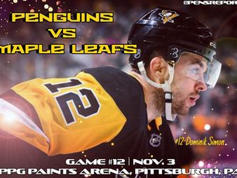 Pens Pre-Game #12: Penguins vs. Maple Leafs- Rematched & Looking For Wins