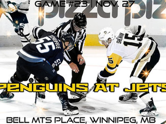 Pens Pre-Game #23: Penguins at Jets- Pens Face A Test In The Jets