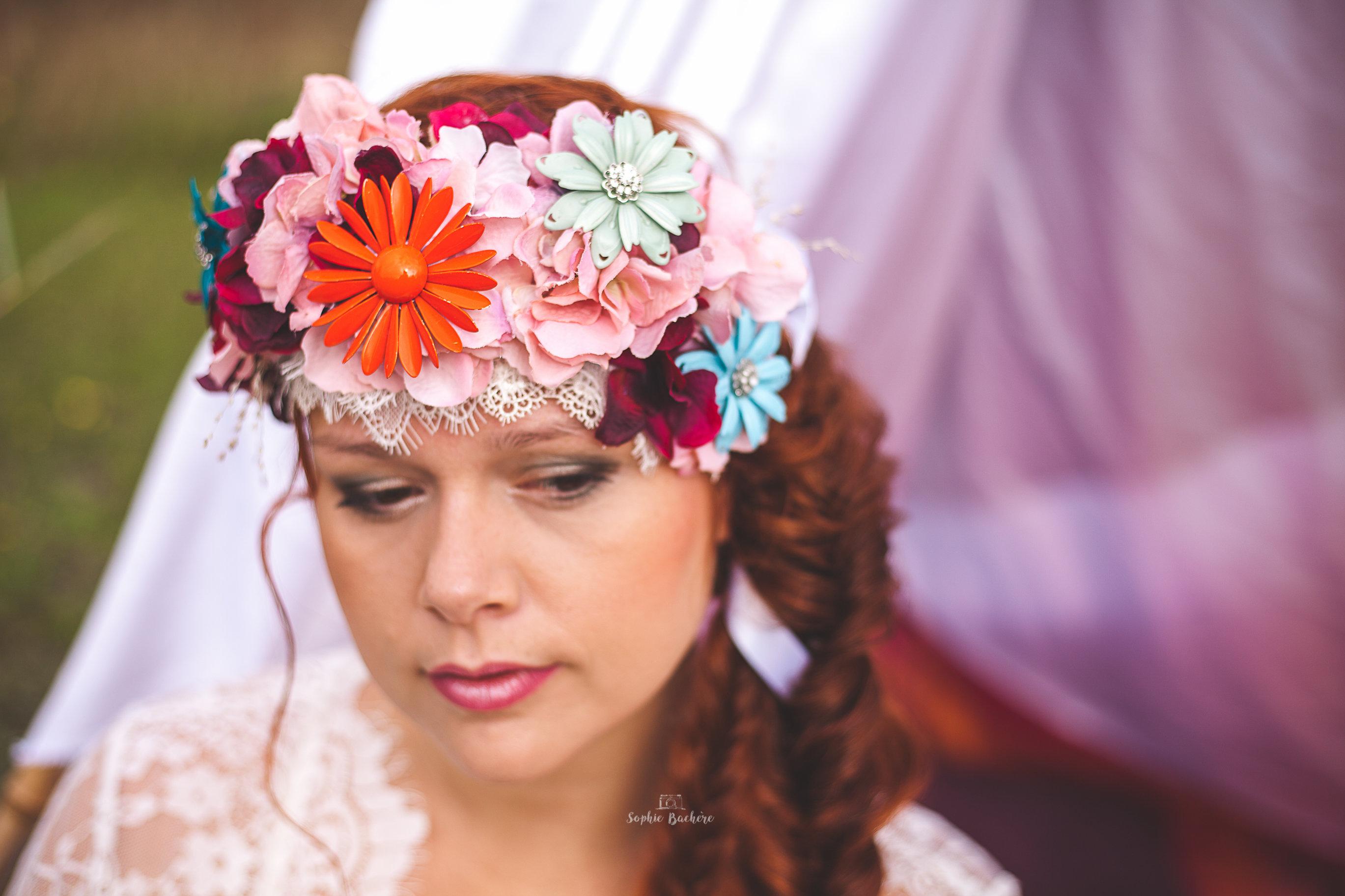 Couronne de fleurs, champêtre mariée