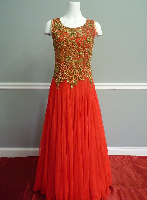 Red Heavy Embroidered Evening Gown