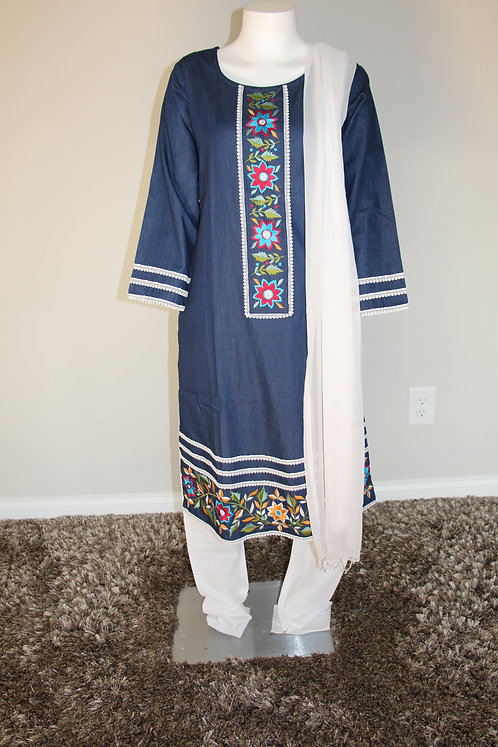 Denim Suit / Dress with Embroidery