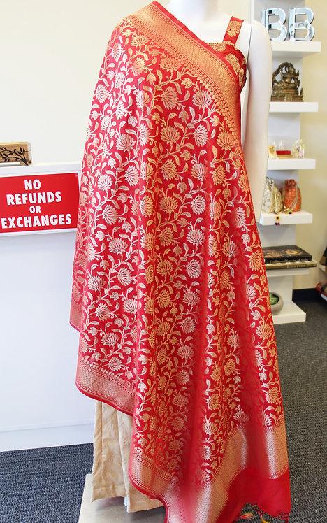 Red Banarasi Semi katan silk dupatta