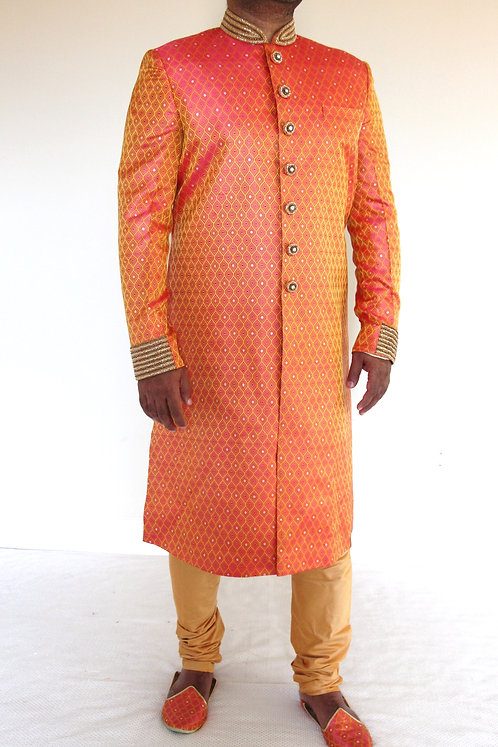Pure Katan Silk Hand Embroidered Men's Sherwani
