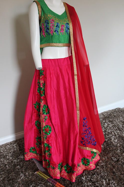 Rani and Green Chania Choli / Lehenga / Dress