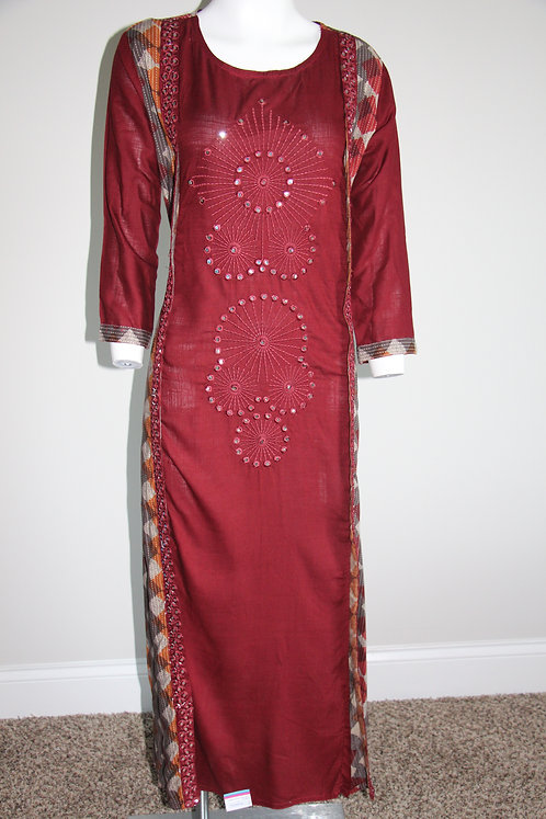 Mehroon Long Gown Style Kurta / Dress