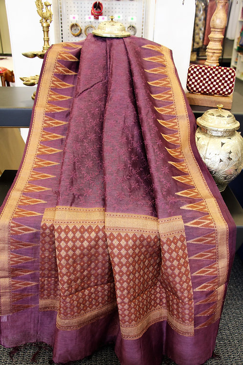 Linen Embroidered weaved saree in beautiful wine color