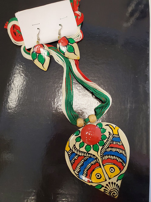 Ceramic Handpainted Jewelry Set