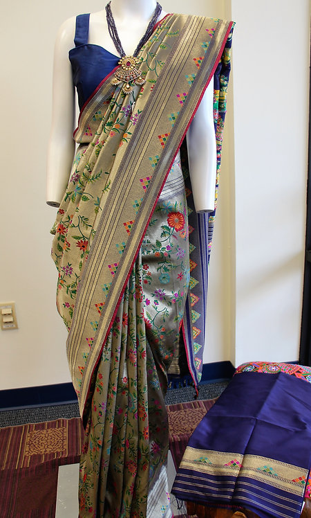Banarasi silk floral weaving saree in grayish tone