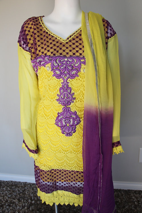 Yellow & Purple Heavy Embroidered Suit