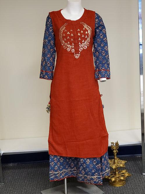 Cotton Long Flared Fusion Dress / Gown / Kurti