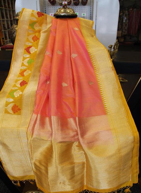 Mustard Yellow-Peach Pure Katan Silk Banarasi Handloom Saree