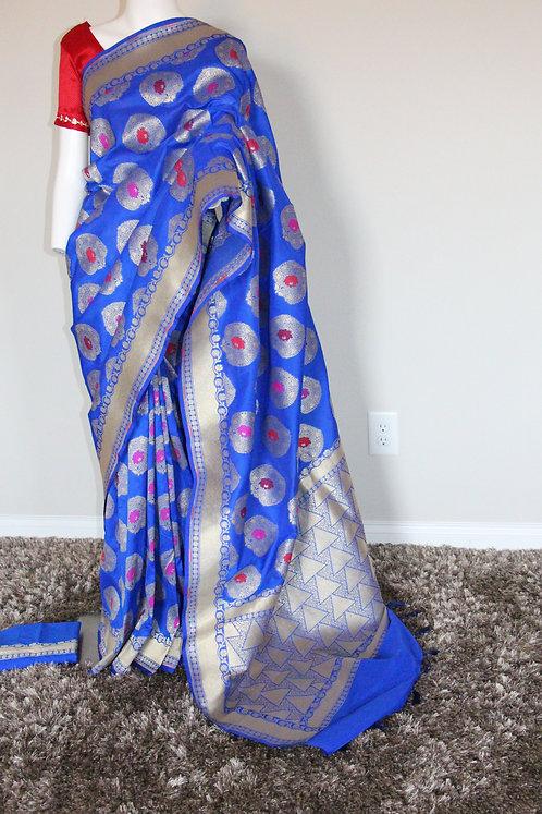 Semi Silk Banarsi Zari woven Saree