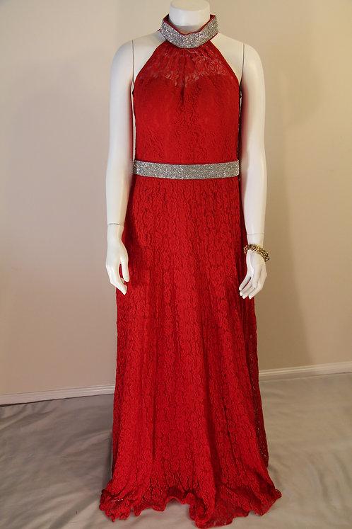 Halter Neck Floor Length Red Gown