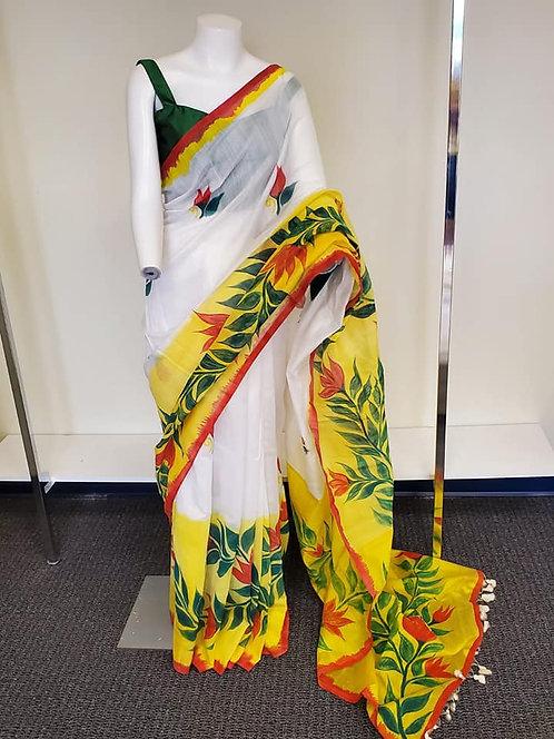 Handloom Cotton Hand-paint Saree