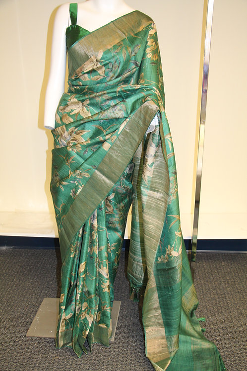 Emerald green digital print floral banarasi pure tusser silk saree