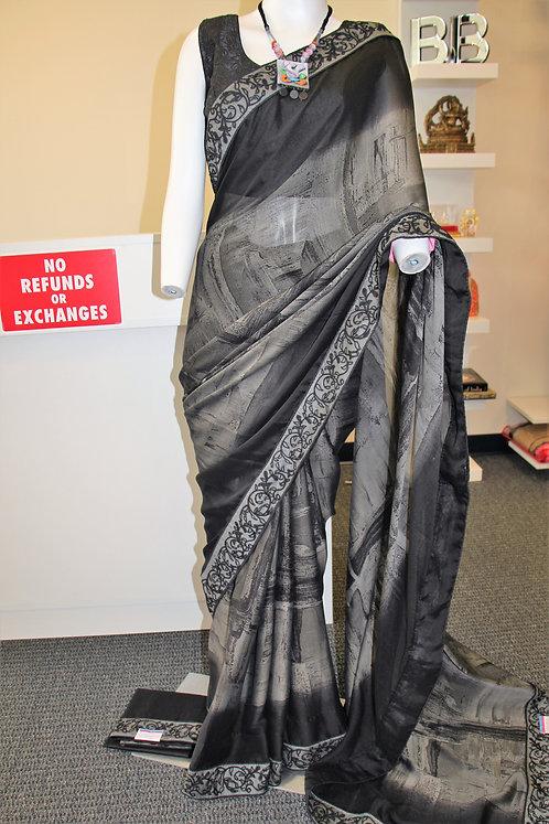 Grey and Black Fancy printed chiffon saree
