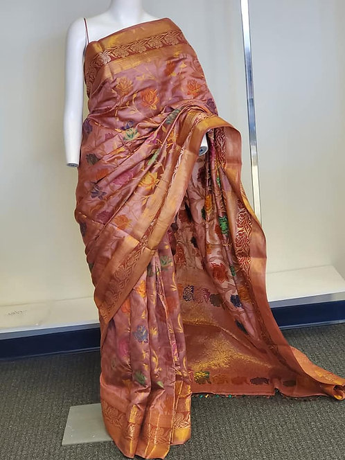 Mauve Color Meenakari Chiniya Silk Banarasi Saree