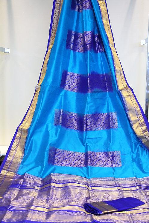 Pure Kanchipuram Silk saree in combination of Firozi and Purple