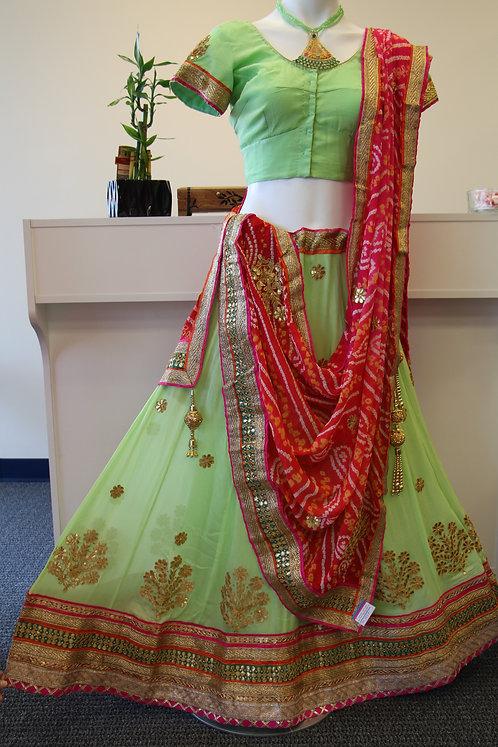 Sea Green Lehenga / Skirt with Gota Work
