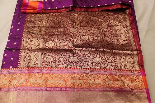 Dark Magenta Classic Tussar Silk Handloom Banarasi Saree