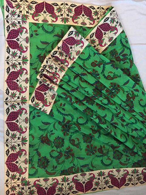 Pure Cotton Kalamkari Hand Brush design Saree