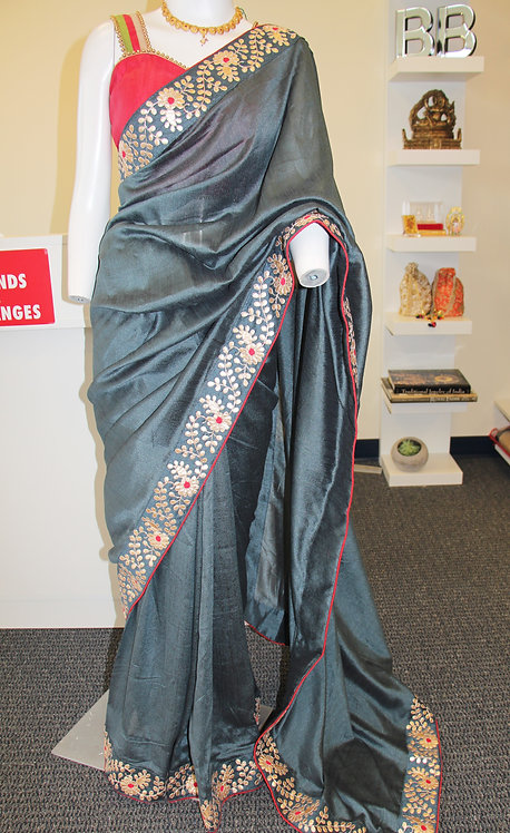 Metallic grey fancy saree with gota-patti work