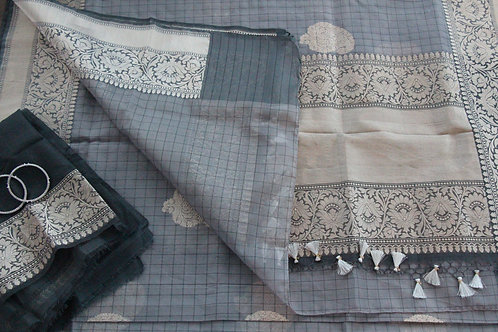 Grey Handwoven Pure Kora Tissue Silk Kadhuwa Banarasi Saree