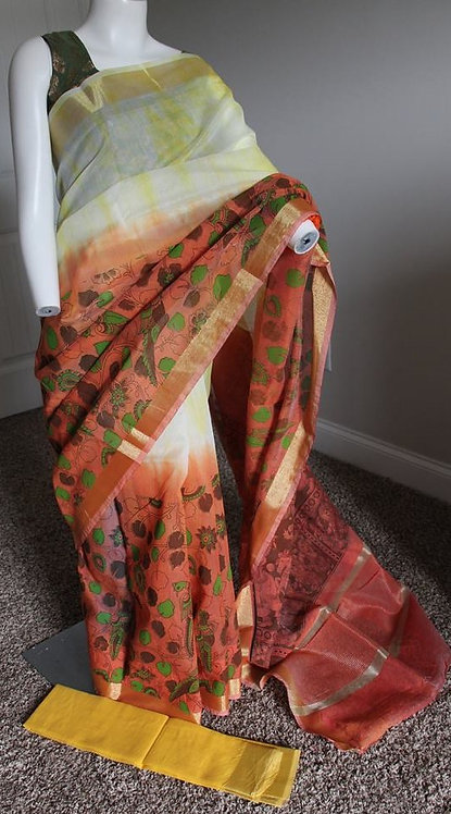Tie and Dye Kalamkari Print Semi Cotton Saree