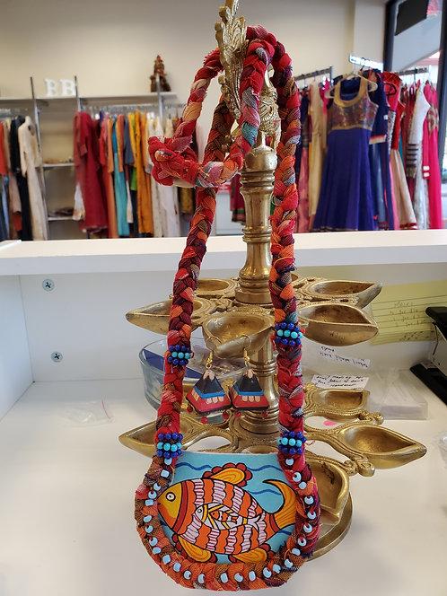 Handpainted Fabric Jewelry Set