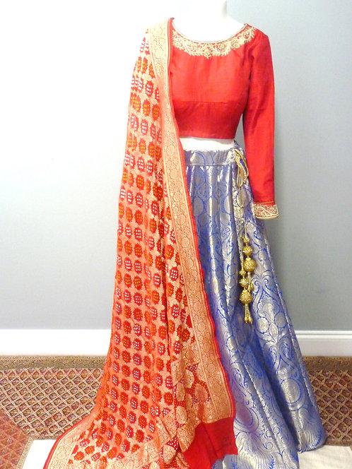 Royal Blue Banarasi Silk Lehenga(only)