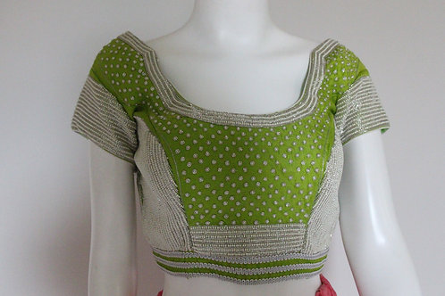 Parrot Green Blouse/Top with beads work