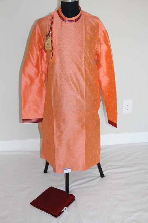 Men Peach Kurta Pyjama Set