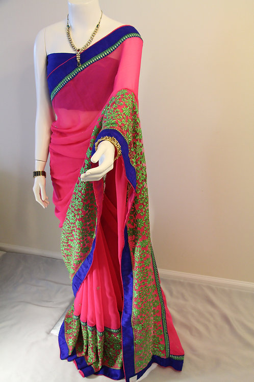 Fuchsia and Blue Georgette Saree