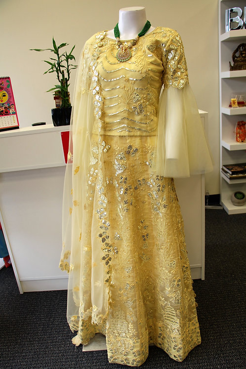 Foil and pearl embroidered 3 pcs lehenga set in Yellow color